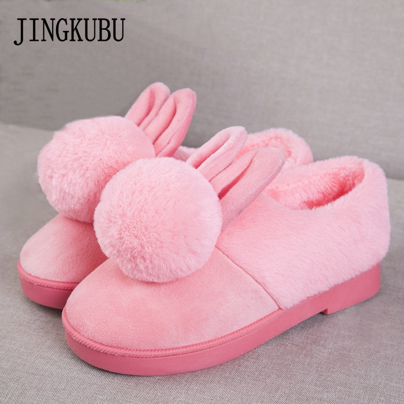 Fashion Woman Platform With Fur Korean Style Ears women winter shoes Boots plush slip on For Student Snow Shoes Female Warm Bota ms noki fur new fashion style black ankle boots flats pointed toe back slip on boots pu flock woman shoes with warm fur outside
