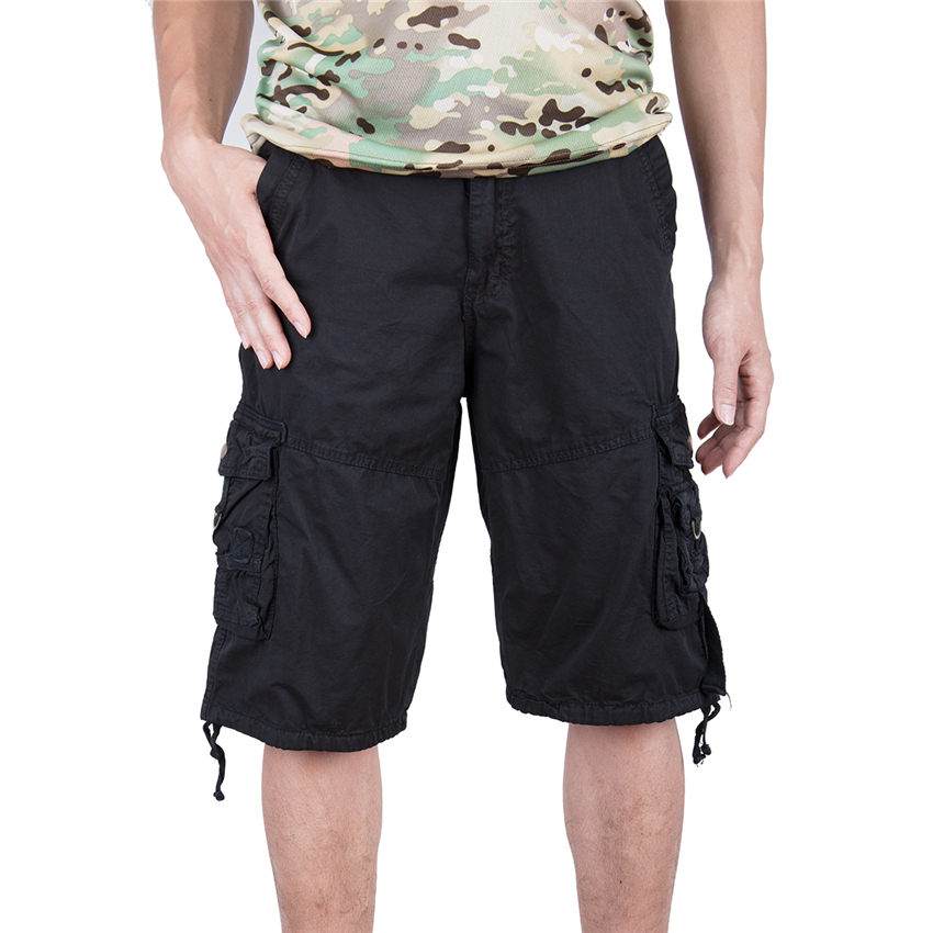MYLEY Men Cargo Shorts Casual Loose Short Pants Camouflage Military Summer Style Knee Length Plus Size 3 Colors Shorts Men