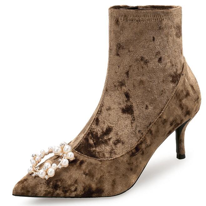 Terciopelo Zapatos as Cm Picture Del De Estrecha Alto Sexy Nueva Punta Picture Estilete 2019 Marrón Botas Mujer Negro As 35 7 Tacón 41 x1CwIpfna