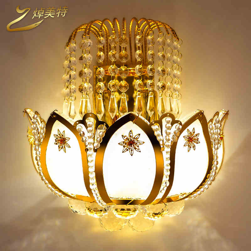 ФОТО Modern minimalist creative golden crystal lamp living room bedroom bedside balcony aisle wall