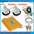 Cover 2 ROOM GSM 900 WCDMA 3G 2100 Signal Repeater Cell Phone Signal Booster Full Set Log Periodic Antenna With Celling Antenna