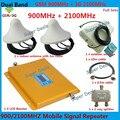 Cubierta 2 HABITACIÓN GSM 900 WCDMA 3G 2100 Repetidor de Señal Celular Amplificador de Señal de teléfono Conjunto Completo de Antena Log Periódica Con Antena Celling