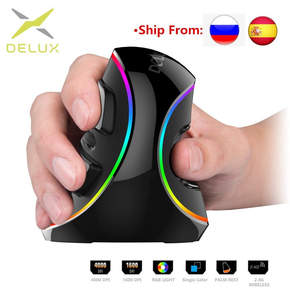 Delux ergonomia jogos verticais com fio rato rgb/única cor/sem fio 6 botões 4000 dpi óptico rgb sem fio mão direita ratos