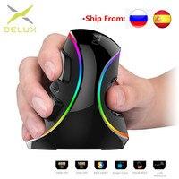 Delux mouse com fio  mouse vertical para jogos ergonômico rgb/cor única/sem fio com 6 botões 4000 dpi ótico rgb sem fio ratos de mão