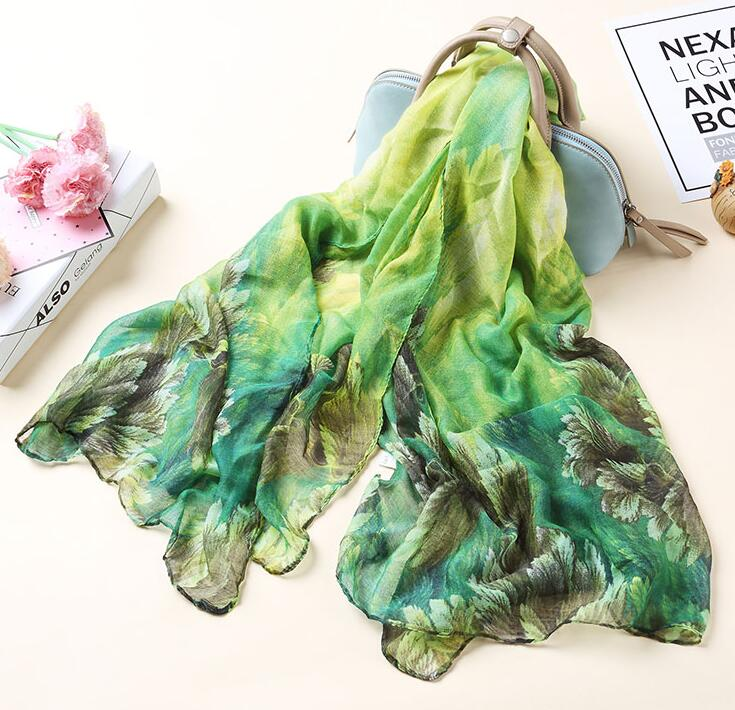 Women's leaf print long chiffon <font><b>scarf</b></font> lady's long <font><b>silk</b></font> <font><b>scarf</b></font> summer Polyester beach sunscreen shawl <font><b>180*90cm</b></font> R549 image