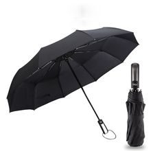 New Fully-automatic 10Ribs Male Three Folding Commercial Compact Large Durable Frame Windproof Gentle Black Umbrellas Rain Gear