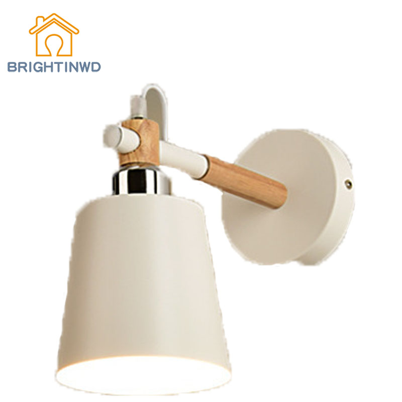 BRIGHTINWD Nordic Solid Wood Wrought Iron Wall Lamp Led Modern Minimalist Living Room Dining Room Bedroom Bedside Wall Lamp nordic style living room hall lamp modern minimalist solid wood bedroom ceiling lamp led home iron antler lamps