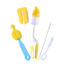 5pcs Long baby cup straw bottle brush with brushes cleaning sponge washing brush cleaner set small baby feeding bottle pacifier