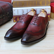 SKP137 Custom Made Goodyear 100% Genuine Leather Handmade Oxfords Shoes, Men's Handcraft Dress Formal Shoes Large/Plus Size