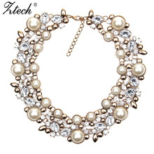 Ztech Fashion Luxury brand Crystal Choker Statement Necklace Chunky collar Necklaces & Pendants women simulated pearl neckalce
