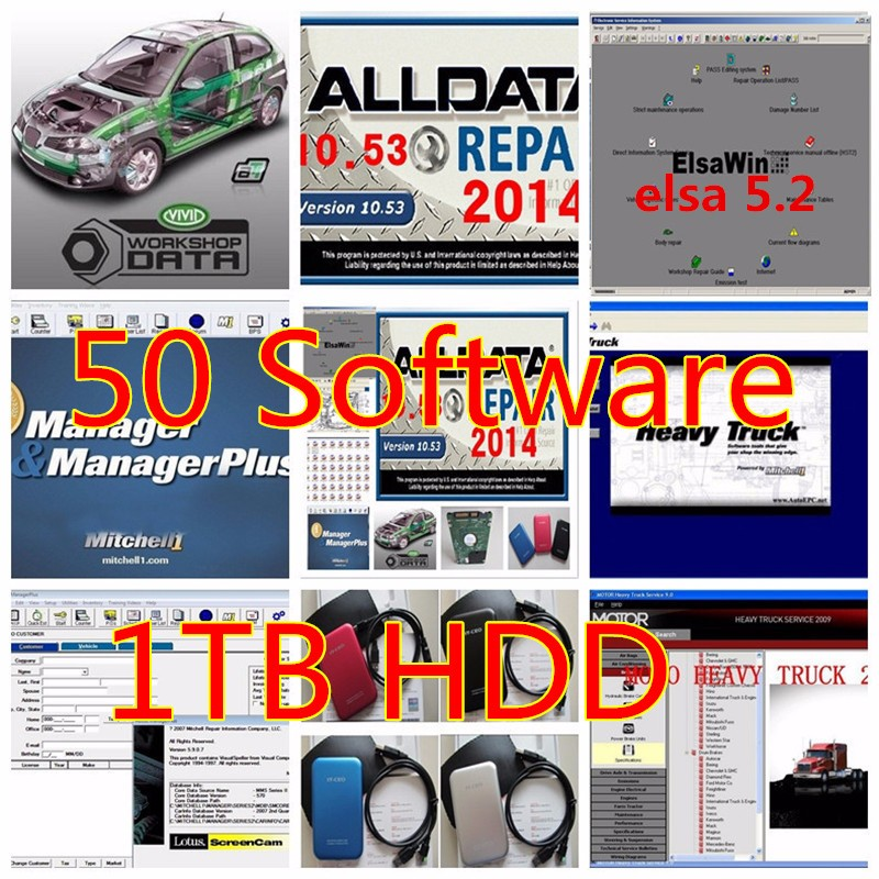 Auto repair software Alldata v10.53 all data and mitchell 2015 +heavy truck ect all data software 50 in 1TB HDD alldata and mitchell software alldata 10 53v auto repair software mitchell ondemand 2015v vivid workshop data manager plus