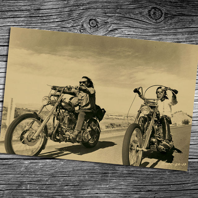 Vintage ROUTE 66 Old motorcycle Kraft Paper Poster Wall Art Crafts ...
