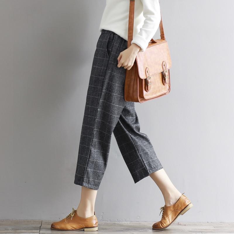 2017 all-match Elastic Waist Autumn Winter Straight Pants Female Vintage Plaid Pant Capris Work Career Woolen Capris Pants M-XXL