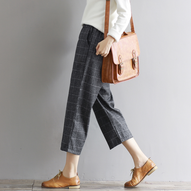 2017 all-match Elastic Waist Autumn Winter Straight   Pants   Female Vintage Plaid   Pant     Capris   Work Career Woolen   Capris     Pants   M-XXL