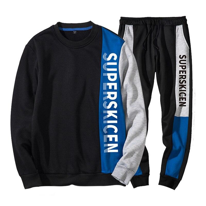 Tracksuits Men Spring 2019 Letter Print Tracksuit Set Patchwork Sweat Suit Men Hoodies+Pants Two Pieces Set Outwear Sportssuit
