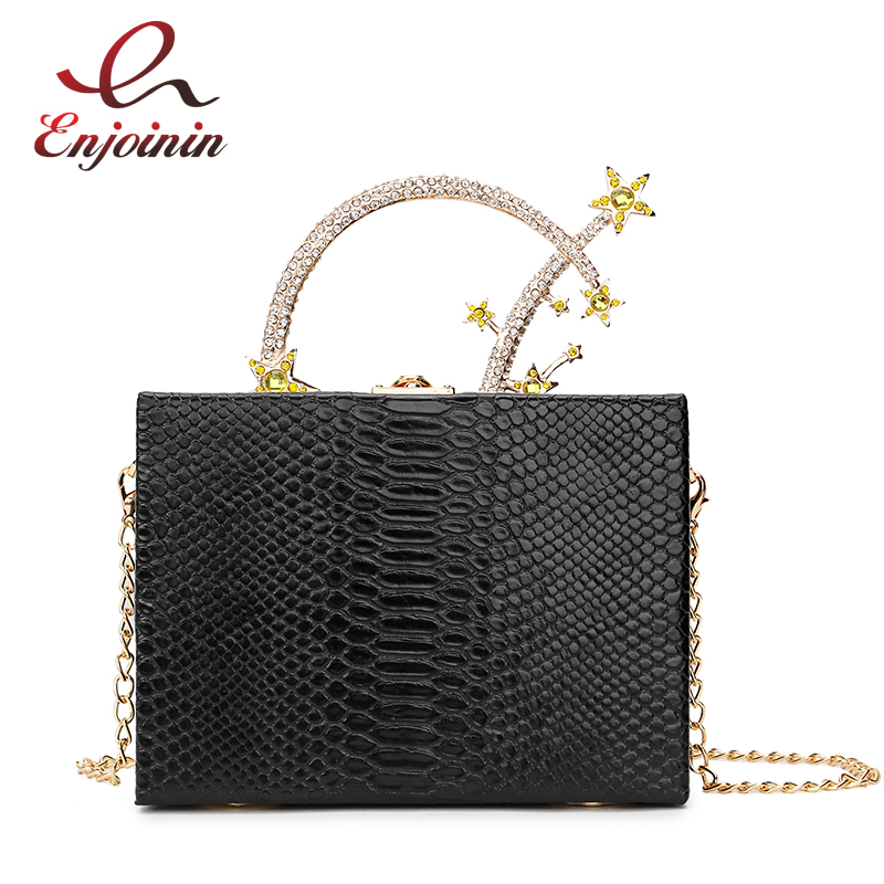 Luxury Fashion Diamond Pu Leather Meteor Metal Handle Female Party Clutch Bag Handbags Ladies Chain Purse Box Style Evening Bag colorful pu leather strap for bag accessories handle with metal clasp for diy purse 10pcs lot