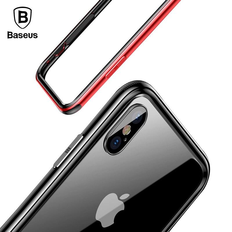 Liga de Alumínio do Metal Caso Baseus Para iPhone Luxo X X10 Duplo Anti Bater À Prova de Choque Bumper Case Capa Para iPhone Quadro caso