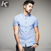 KUEGOU Summer Mens Casual Shirts 100% Cotton Patchwork Blue Gray Color Brand Clothing Man's Short Sleeve Slim Fit Clothes 15519