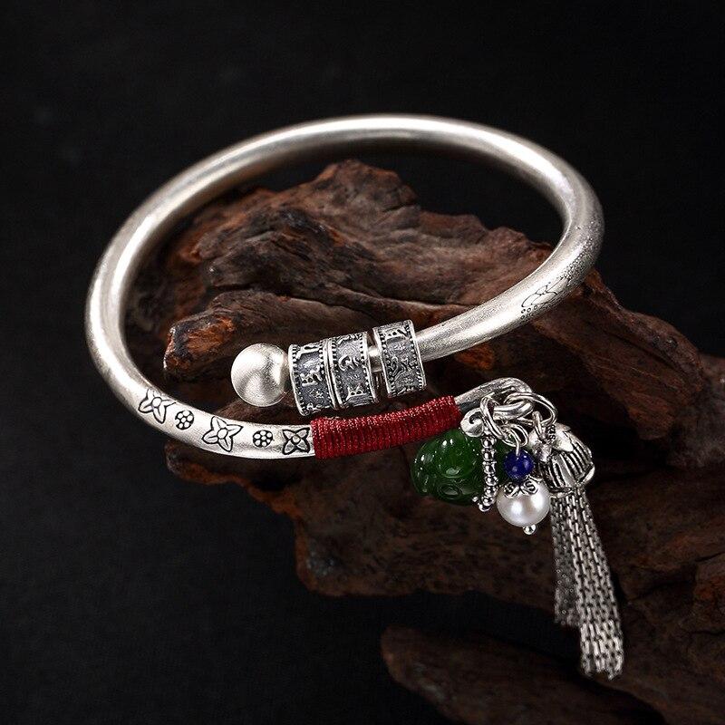 L P Buddhism Pure 990 Silver Natural Jasper Tassels Bracelets Bangles For Women Handmade Original Retro
