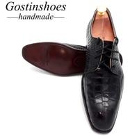 GOSTINSHOES/мужские классические полуботинки ручной работы, хорошо Окаймленный, черные, из натуральной кожи, на шнуровке, с острым носком, размер