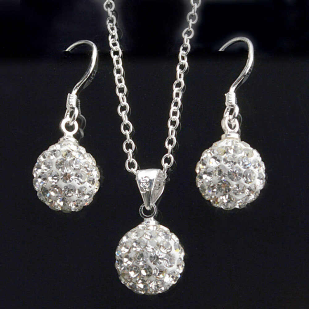 10mm Silver Plated Jewelry Hot Sale Cz Crystal Set Drop Earrings & Pendant Necklaces