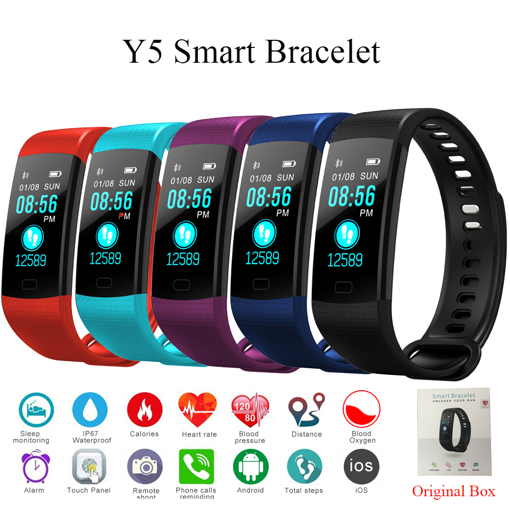 Tonbux Y5 Smart Band Heart Rate Tracker Fitness Tracker Y5 Smartband Smart Bracelet Waterproof Smart Wristband Smart Watch Men(China)