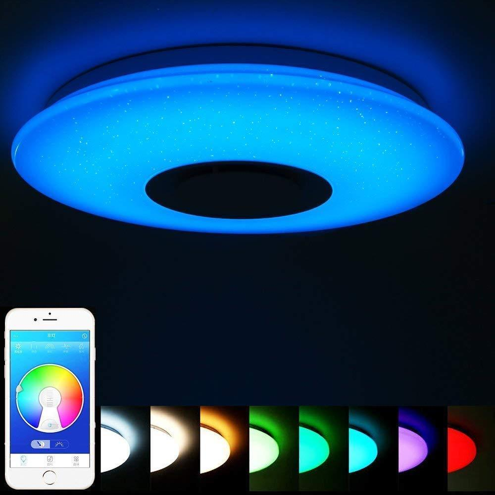 HTB151smbovrK1RjSspcq6zzSXXaq 60W Rgb Flush Mount Round Starlight Music Led Ceiling Light Lamp With Bluetooth Speaker, Dimmable Color Changing Light Fixture