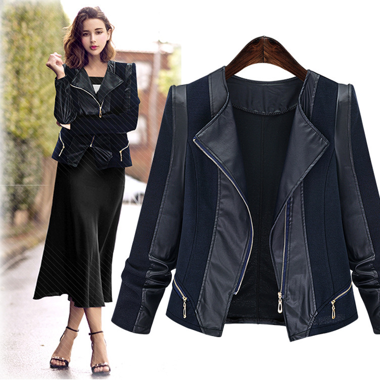 2018 womens Europe and America large size was thin long sleeve stitching leather jacket artificial leather PU fashion jacke ...