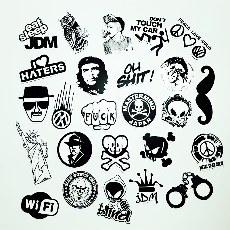 Sick Car Wallpapers 50 Pcs Black And White Cool Diy Stickers For Skateboard