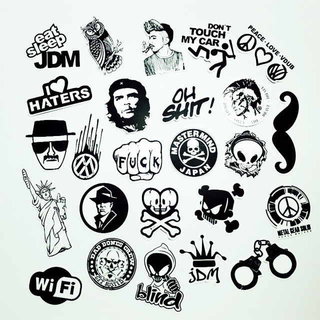 50 pcs black and white cool diy stickers for skateboard laptop luggage snowboard fridge phone toy