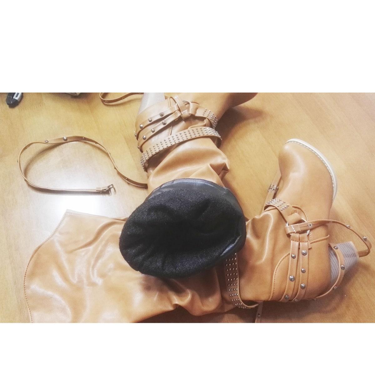 army Green Xingdeng 43 Delgados De Occidental white Beige grey brown Zapatos Botas 34 Largas Pu Mujeres Cuero Señoras Tacones yellow Motocicleta Hebilla Remaches Vaquero black faxwf1rBq