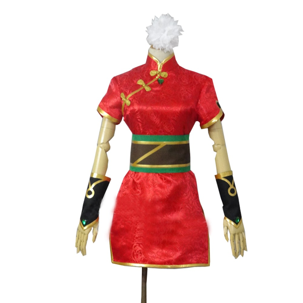 2017 The Loose Cannon Firecracker Jinx Cosplay Costume Anime Red Custom Made Cheongsam