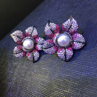 cute natural fresh water pearl stud earring flower 925 sterling silver with cubic zircon pink color fashion women jewelry