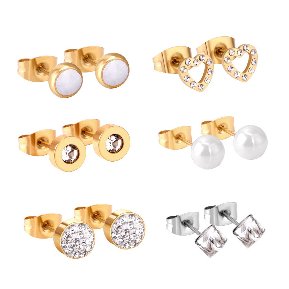 LUXUKISSKIDS 6pairs/lot Stainless Steel Stud Earing 2020 Heart Fake Pearl Gold Christmas Earrings Set For Women Fashion Jewelry