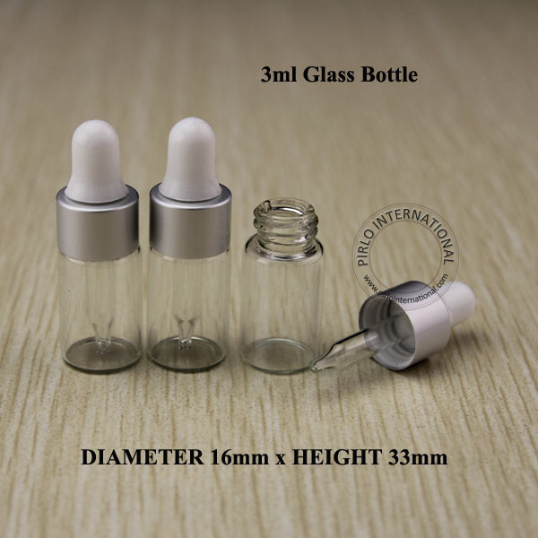 3ml Empty Glass Dropper Bottle Vials With Pipette Silver Cap For Cosmetic Perfume Essential Oil Bottles Free Shipping 10pcs