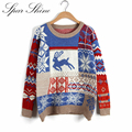 Hot Sale Winter Women/Men Round Neck Christmas Sweater Deer Printed Knitted Pullover Long Sleeve Warm Female/Men Soft Sweater