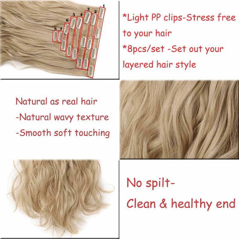 SNOILITE 8 шт./компл. 24 дюйма 180 г вьющиеся 18 Клип ins синтетические волосы для наращивания на заколках для волос волосы для наращивания Омбре
