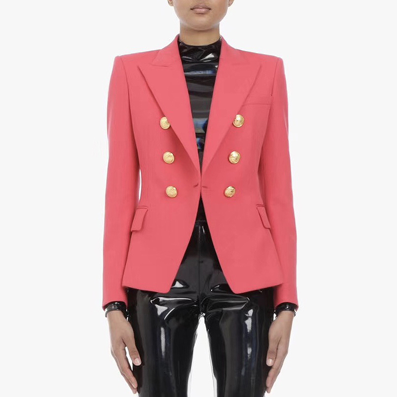 HIGH STREET Classic Baroque Designer Blazer Women's Metal Lion Buttons Double Breasted Blazer Coral Red