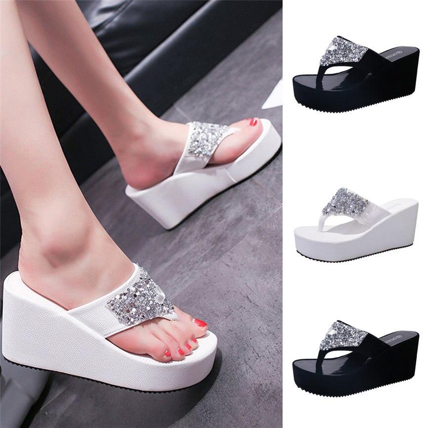 Summer Shoes Flip-Flops Rhinestone Wedges Women Sandals Slippers Fashion for M23