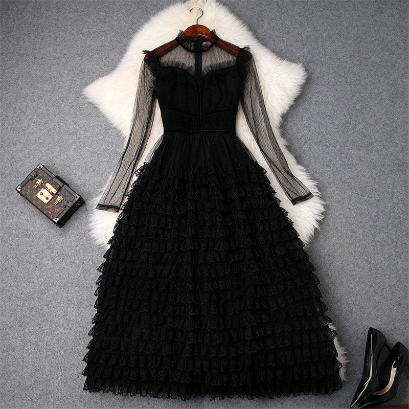 Nouveau 2019 printemps robe femmes créateur de mode à manches longues maille noir Sexy robe élégante dame Midi couches gâteau dentelle robes de fête