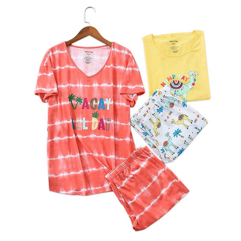 Sweet short sleeve cropped trousers   pajamas     sets   women kawaii 60% cotton plus size 2 piece pyjamas women sleepwear homewear