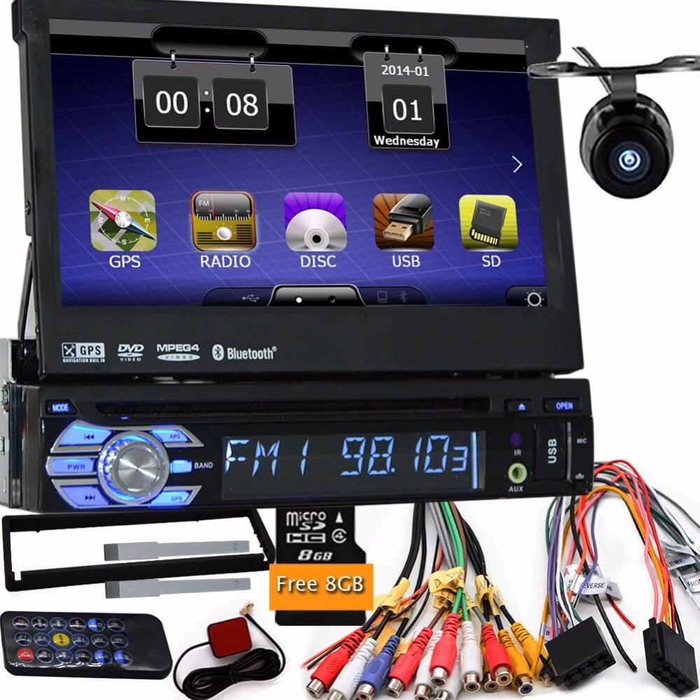 de5b8885c 7 بوصة واحدة الدين واحد الدين hd cd dvd لاعب سيارة السمعية gps الملاح صوت  ستيريو 1din دي السيارات راديو السيارة الصوت مع كاميرا