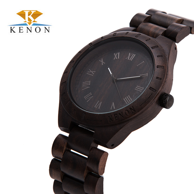 Kenon nova chegada bordo madeira relógios mens relógios top marca de relógios de quartzo da forma com pacote de caixa de presente relogio masculino relógio