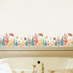 Настенная Наклейка с морскими растениями и рыбами, для детской комнаты, художественного оформления гостиной, спальни, домашнего декора