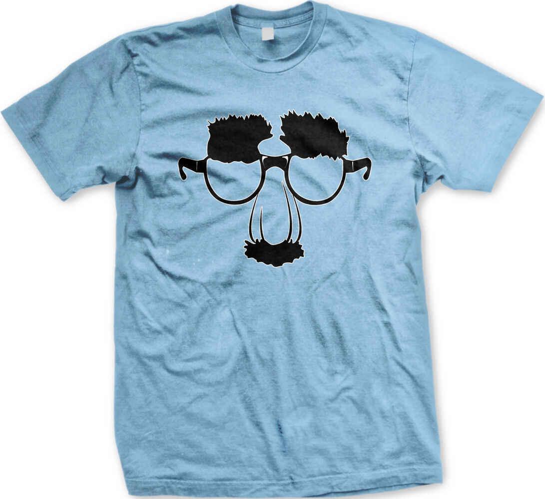 Disfarçar Groucho Sobrancelhas Óculos Nariz Bigode Comédia Máscara de Palhaço T-Shirt dos homens