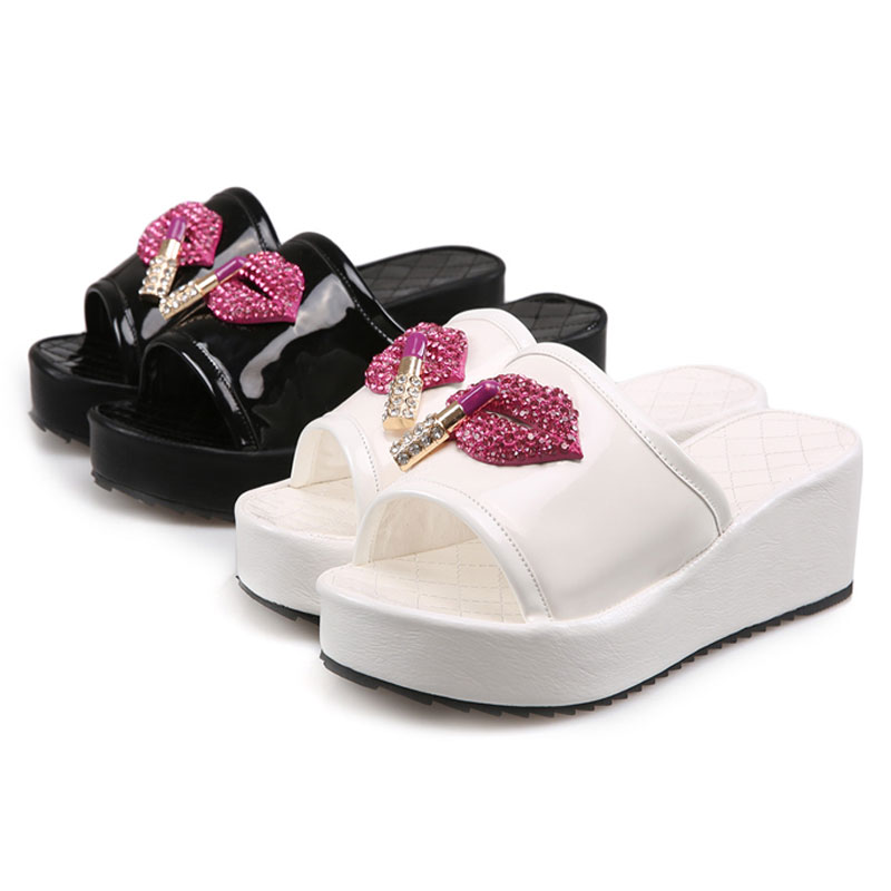 ee0961932 Fanyuan Big Size Patent Leather Mujer Zapatos Summer Fancy ladies footwear  Diamond Crystal Flat Platform Zapatos Slippers-in Slippers from Shoes on ...