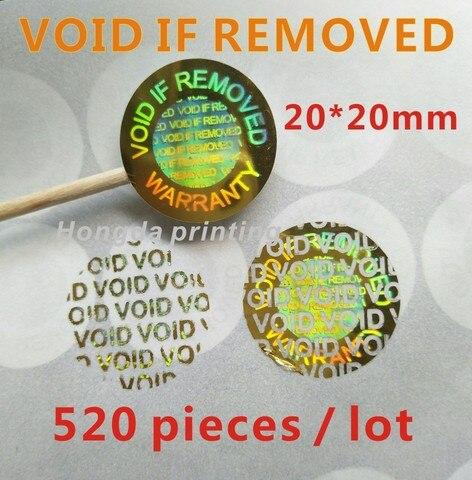 520 pecas lote holograma vazio se removido seguranca violacao evidente adesivos de