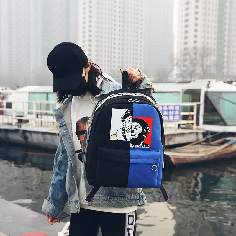 Street Fashion Harajuku Simple Men Women Bags Trend Casual Hip Hop Stitching Color Large Capacity Backpack Travel Backpack