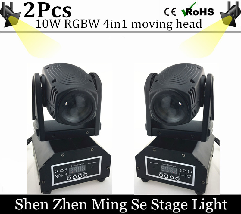 New Seer 2pcs/lots 10W RGBW 4in1 moving head DMX512 light beam LED spot Lighting Show Disco DJ Laser Light niugul mini 10w rgbw 4in1 led moving head dmx512 light led beam spot lighting show disco dj laser light christmas party lights