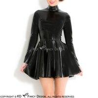 Черный сексуальный латекс платье с длинными рукавами Высокий Воротник сзади полная молния платье из латекса Bodycon Playsuit LYQ 0090
